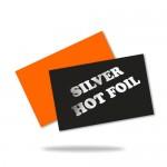 Ezüstözött névjegykártya (90x50mm vagy 85x55mm) 2 oldalas, ezüst présfólia